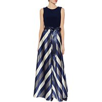 Gina Bacconi Michaela Satin Stripe Maxi Dress