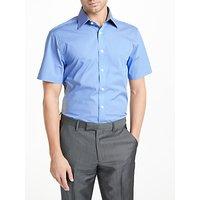 John Lewis & Partners Fine Stripe Dobby Short Sleeve Shirt, Navy Stripe