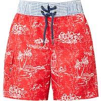 John Lewis Boys' Islands Print Swim Shorts, Red