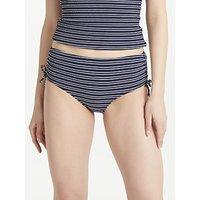 John Lewis & Partners Valencia Textured Stripe Ruched Bikini Shorts, Navy