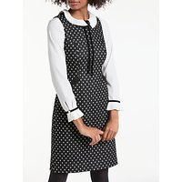 Boden Deborah Tweed Dress, Black With Ivory Spot