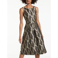 BodenBoden Jacquard Party Dress, Pewter/Black