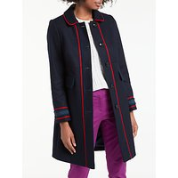 Boden Edith Trim Detail Coat, Utility Blue/Postbox Red