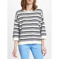 Collection WEEKEND by John Lewis Pique Stripe Jumper, White/Navy