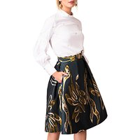 Closet Gold Pleated Lined Skirt, Multi