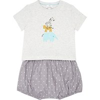 John Lewis Baby Jungle Friends T-Shirt and Shorts Set, Grey