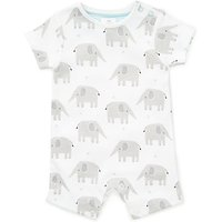 John Lewis Baby GOTS Organic Cotton Elephant Romper, White