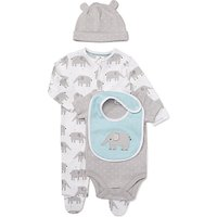 John Lewis Baby Elephant Sleepsuit, Bodysuit, Bib and Hat Set, Grey