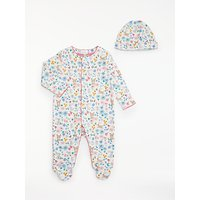 John Lewis & Partners Baby GOTS Organic Cotton Animals & Flowers Sleepsuit And Hat Set, Multi
