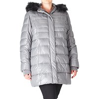 ADIA Quilted Faux Fur Hooded Coat, Grey