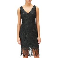 Adrianna Papell Guipure Lace Short Dress, Black
