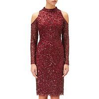 Adrianna Papell Short Beaded Cocktail Dress, Cranberry