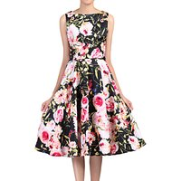 Jolie Moi Floral Print Crossover Dress, Black/Multi