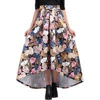 Jolie Moi High Low Hem Floral Prom Skirt, Khaki Pattern