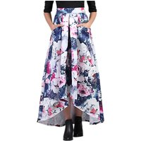Jolie Moi High Low Hem Floral Prom Skirt, Grey Pattern