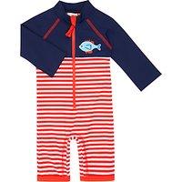 John Lewis Baby Fish Stripe SunPro Swimsuit, Blue/Red