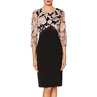 Gina Bacconi Renatta Embroidered Bodycon Dress, Black/Peach