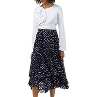Finery Baltic Print Pleated Skirt, Navy/White