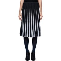 East Merino Pleat Stripe Skirt, Black/White