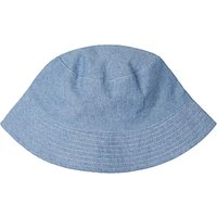 John Lewis Children's Chambray Stripe Reversible Bucket Hat, Blue