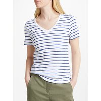 John Lewis V-Neck Short Sleeve Cotton Slub T-Shirt, White/Blue