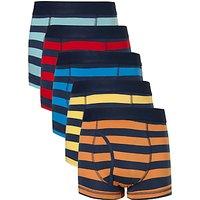 John Lewis Boys Rugby Stripe Print Trunks, Pack of 5, Multi