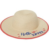 John Lewis Children's Hello Summer Straw Hat, Natural