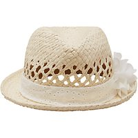 John Lewis Children's Straw Trilby Hat with Flower, Natural