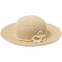 John Lewis Girls' Straw Sun Hat with Flower, Natural