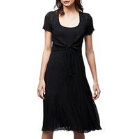East Pleat Front Tie Dress, Black