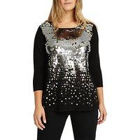 shop for Studio 8 Eden Embellished Sequin Jumper, Black/Silver at Shopo