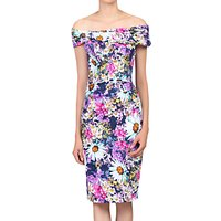 Jolie Moi Floral Bardot Neckline Dress, Purple