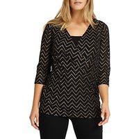 shop for Studio 8 Milly V-Neckline Wrap Top, Black/Gold at Shopo