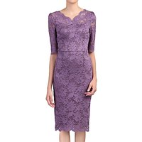 Jolie Moi Scalloped V-Neck Lace Dress, Dark Mauve