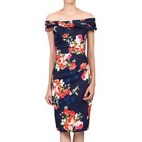 Jolie Moi Floral Bardot Neckline Dress, Navy