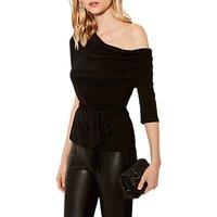 Karen Millen Asymmetric Jersey Top, Black