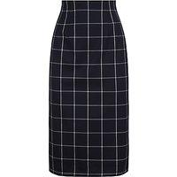 Jaeger Wool Check Pencil Skirt, Navy/Ivory