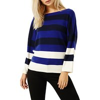 Damsel in a dress Colour Splice Cashmere Blend Knit Jumper, Navy/Black/Ivory/Cobalt