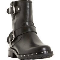 Dune Riker Biker Boots, Black Leather