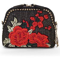 Chesca Rose Embroidered Cross Body Bag, Black/red
