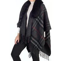 Chesca Tartan Printed Fur Trim Wrap, One Size, Charcoal