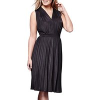 Yumi Pleated Midi Jersey Dress, Black