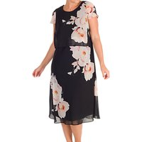 Chesca Floral Print Layered Chiffon Dress, Black/Blush