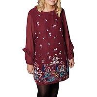 Yumi Curves Lily Snowdrop Border Tunic Dress, Burgundy