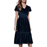 Yumi Ruched Velvet Midi Dress, Jade