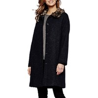 Yumi Faux Fur Trim Coat, Dark Navy