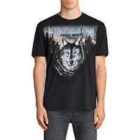 AllSaints Night Wolves Short Sleeve T-Shirt, Black