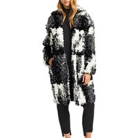Grace and Oliver Luna Jacquard Faux Fur Coat, Black/White
