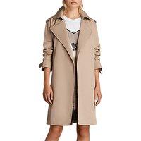 AllSaints Riley Trench Coat Mac, Sand Brown