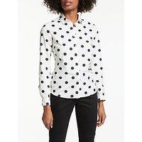 Boden Classic Spot Shirt, Ivory/Navy